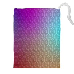 Blue And Pink Colors On A Pattern Drawstring Pouches (xxl)