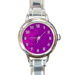 Floraly Swirlish Purple Color Round Italian Charm Watch