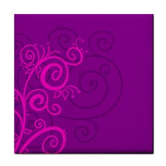 Floraly Swirlish Purple Color Tile Coasters