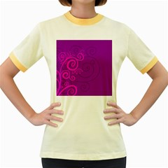 Floraly Swirlish Purple Color Women s Fitted Ringer T Shirts