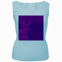 Floraly Swirlish Purple Color Women s Baby Blue Tank Top