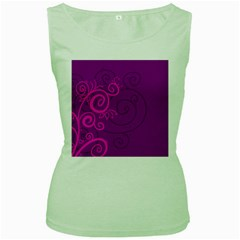 Floraly Swirlish Purple Color Women s Green Tank Top