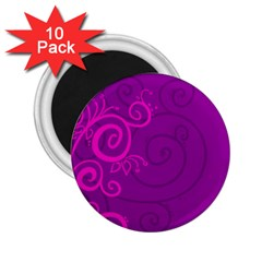 Floraly Swirlish Purple Color 2 25  Magnets (10 Pack)