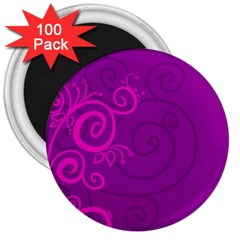 Floraly Swirlish Purple Color 3  Magnets (100 Pack)