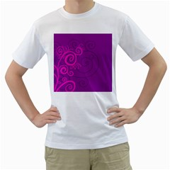 Floraly Swirlish Purple Color Men s T Shirt (white) (two Sided)