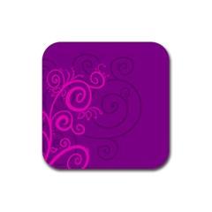 Floraly Swirlish Purple Color Rubber Coaster (Square)