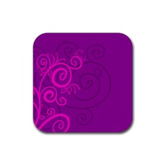 Floraly Swirlish Purple Color Rubber Square Coaster (4 Pack)