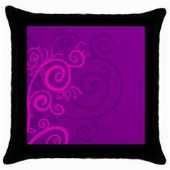 Floraly Swirlish Purple Color Throw Pillow Case (black)