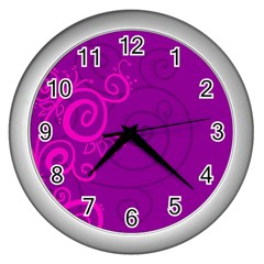 Floraly Swirlish Purple Color Wall Clocks (silver)