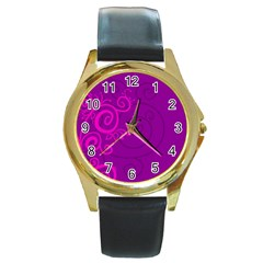 Floraly Swirlish Purple Color Round Gold Metal Watch