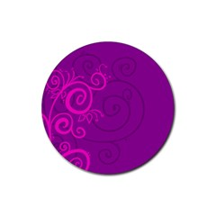 Floraly Swirlish Purple Color Rubber Round Coaster (4 Pack)