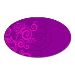Floraly Swirlish Purple Color Oval Magnet