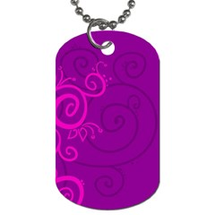 Floraly Swirlish Purple Color Dog Tag (one Side)