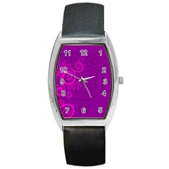 Floraly Swirlish Purple Color Barrel Style Metal Watch