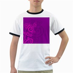 Floraly Swirlish Purple Color Ringer T Shirts