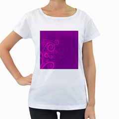 Floraly Swirlish Purple Color Women s Loose Fit T Shirt (white)