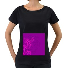 Floraly Swirlish Purple Color Women s Loose Fit T Shirt (black)