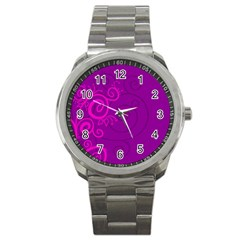 Floraly Swirlish Purple Color Sport Metal Watch