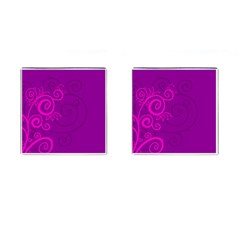 Floraly Swirlish Purple Color Cufflinks (square)
