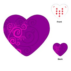 Floraly Swirlish Purple Color Playing Cards (heart)