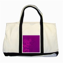 Floraly Swirlish Purple Color Two Tone Tote Bag
