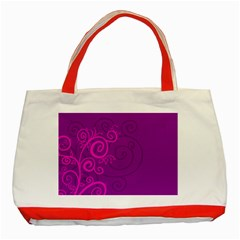 Floraly Swirlish Purple Color Classic Tote Bag (red)