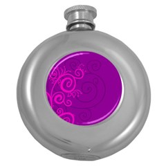 Floraly Swirlish Purple Color Round Hip Flask (5 oz)