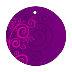Floraly Swirlish Purple Color Round Ornament (two Sides)
