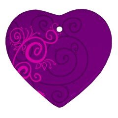 Floraly Swirlish Purple Color Heart Ornament (two Sides)