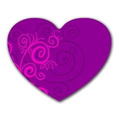 Floraly Swirlish Purple Color Heart Mousepads