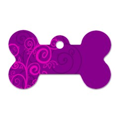 Floraly Swirlish Purple Color Dog Tag Bone (One Side)