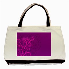 Floraly Swirlish Purple Color Basic Tote Bag (two Sides)