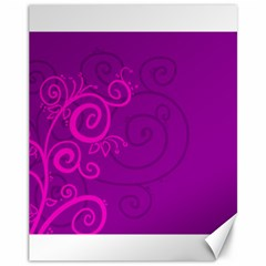 Floraly Swirlish Purple Color Canvas 11  X 14