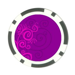 Floraly Swirlish Purple Color Poker Chip Card Guard