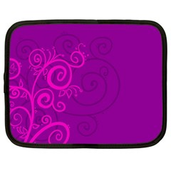Floraly Swirlish Purple Color Netbook Case (large)