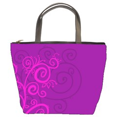 Floraly Swirlish Purple Color Bucket Bags