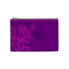 Floraly Swirlish Purple Color Cosmetic Bag (medium)