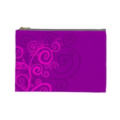 Floraly Swirlish Purple Color Cosmetic Bag (large)