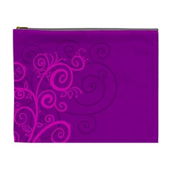 Floraly Swirlish Purple Color Cosmetic Bag (XL)