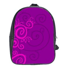 Floraly Swirlish Purple Color School Bags(large)