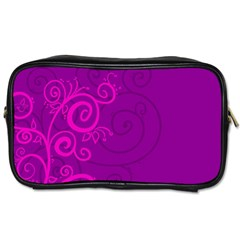 Floraly Swirlish Purple Color Toiletries Bags 2 Side