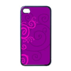 Floraly Swirlish Purple Color Apple Iphone 4 Case (black)