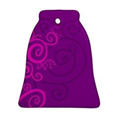 Floraly Swirlish Purple Color Bell Ornament (two Sides)