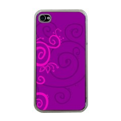 Floraly Swirlish Purple Color Apple Iphone 4 Case (clear)