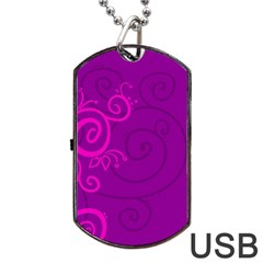Floraly Swirlish Purple Color Dog Tag Usb Flash (one Side)