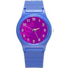 Floraly Swirlish Purple Color Round Plastic Sport Watch (s)