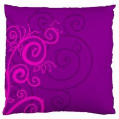 Floraly Swirlish Purple Color Large Cushion Case (two Sides)