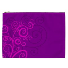 Floraly Swirlish Purple Color Cosmetic Bag (xxl)