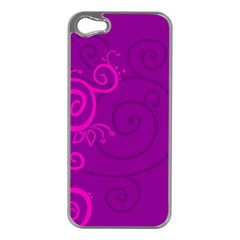 Floraly Swirlish Purple Color Apple Iphone 5 Case (silver)