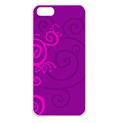 Floraly Swirlish Purple Color Apple Iphone 5 Seamless Case (white)